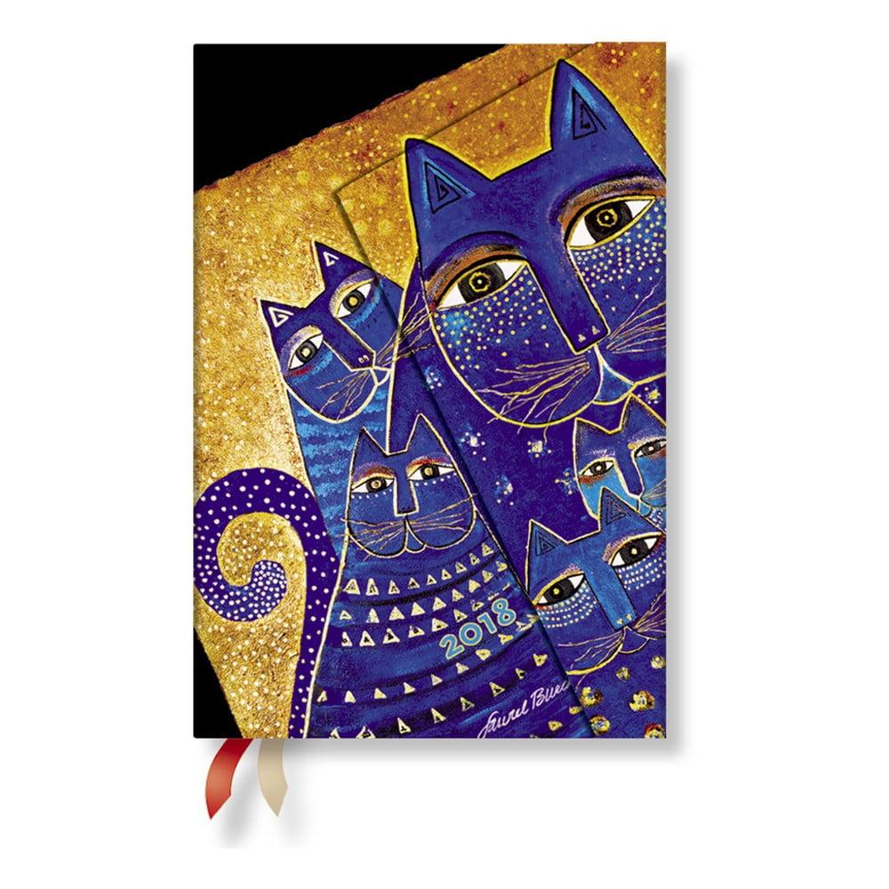 Diář na 2018 s horizontálním rozložením Paperblanks Cats Mini