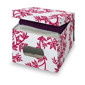 Červenobílý úložný box Domopak Living, výška31cm