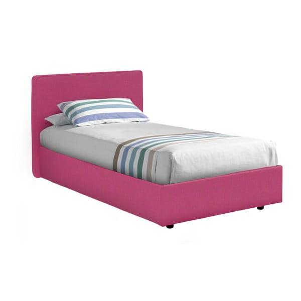 Růžová jednolůžková postel s úložným prostorem 13Casa Ninfea, 80x190cm