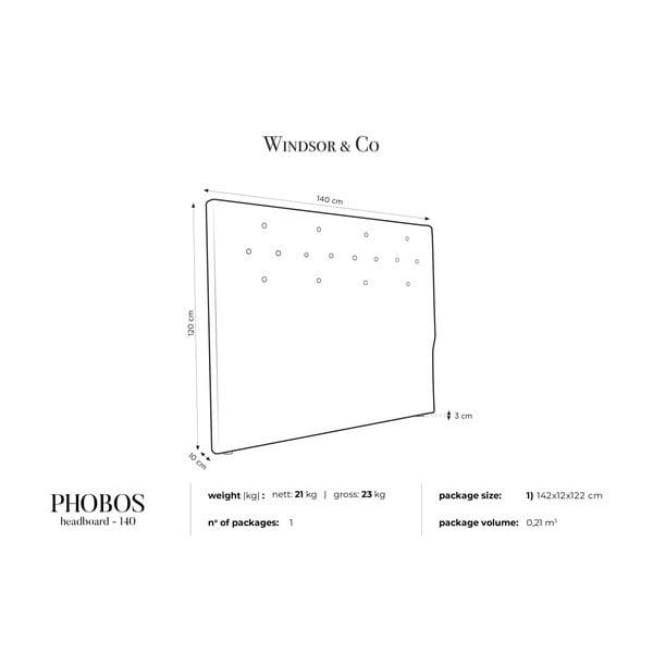 Pudrově růžové čelo postele Windsor & Co Sofas Phobos, 140 x 120 cm