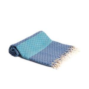 Modrá ručně tkaná osuška Ivy's Deniz, 95x180cm