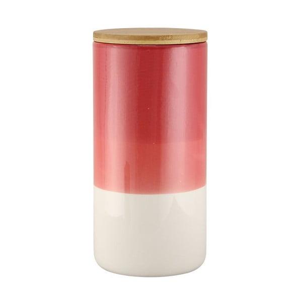 Červeno-bílá keramická dóza Strömshaga Majken, 21 cm