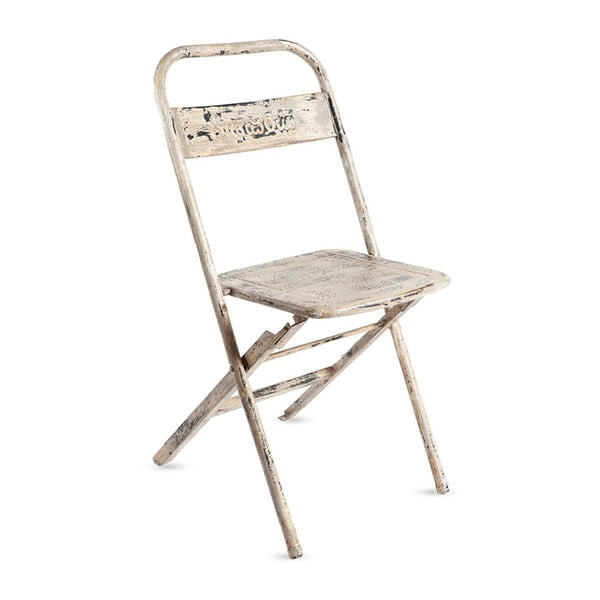 Bílá kovová skládací židle s patinou RGE Mash