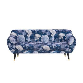 Canapea cu 3 locuri Mazzini Sofas Benito Floral, albastru