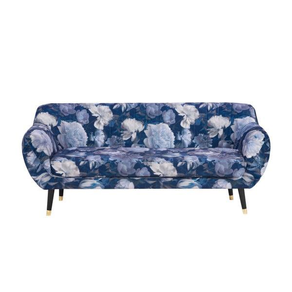 Modrá trojmístná pohovka Mazzini Sofas Benito Floral