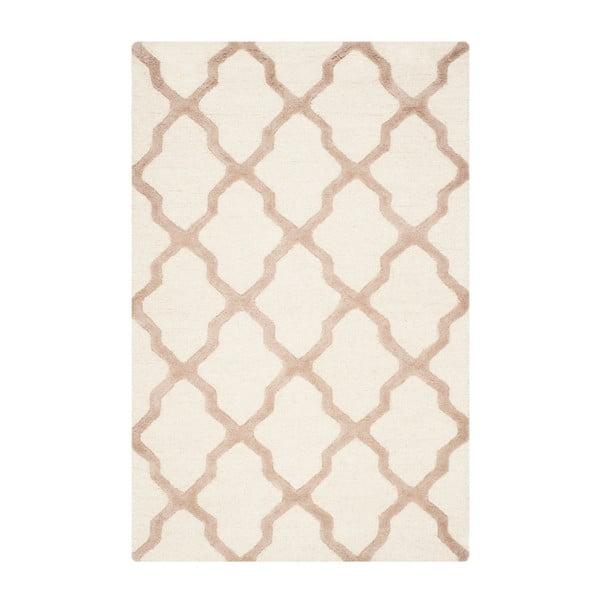 Vlněný koberec Ava 121x182 cm, bílý/béžový