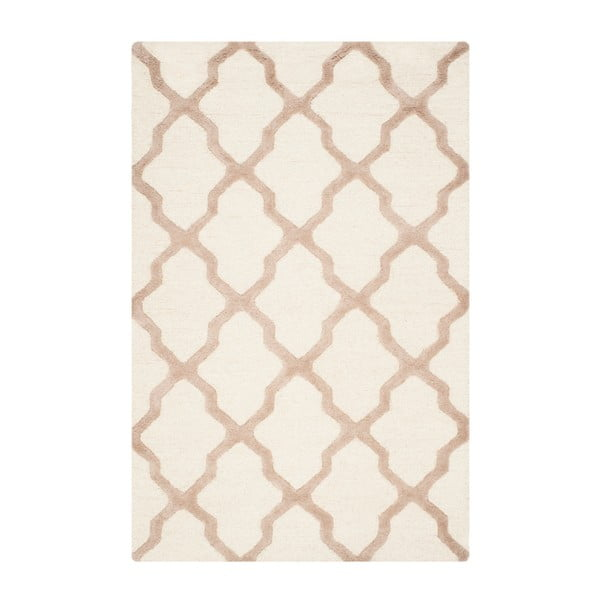 Vlnený koberec Ava White Beige, 121×182 cm