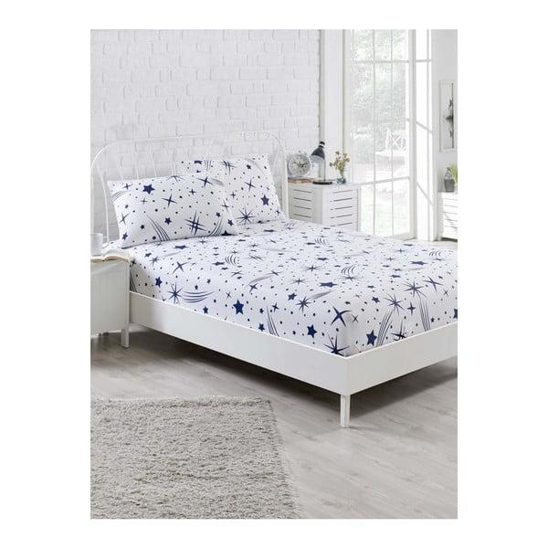 Set bielej elastickej plachty a obliečky na vankúš na jednolôžko Clementino Caluga, 100 × 200 cm