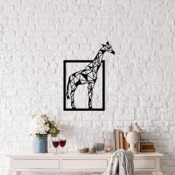 Decorațiune metalică de perete Giraffe, 45 x 60 cm, negru imagine