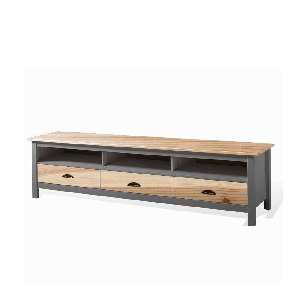Šedý TV stolek z masivního borovicového dřeva SOB Irelia