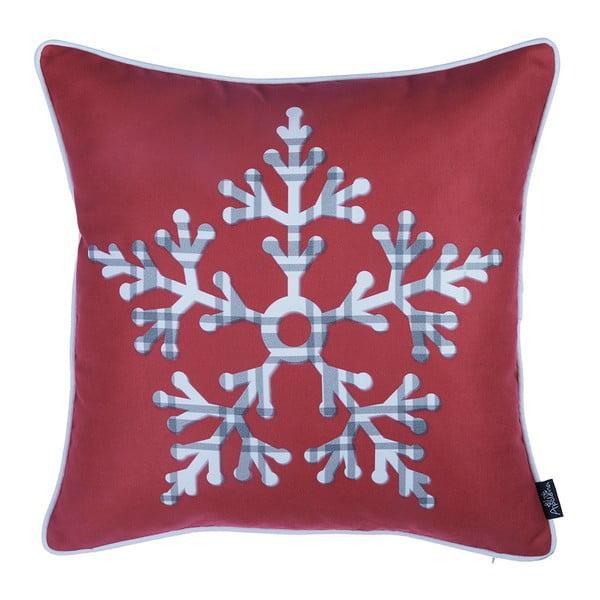 Červená obliečka na vankúš s vianočným motívom Apolena Honey Snowflake, 45×45 cm