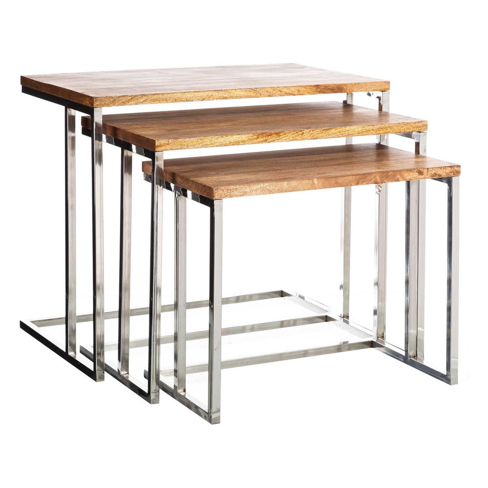 Sada 3 odkládacích stolků s deskou z mangového dřeva Tropicho