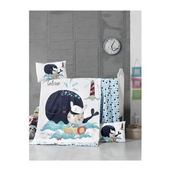 Set lenjerie cu cearșaf din bumbac pentru copii On The Sea, 100 x 150 cm imagine