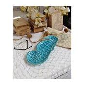 Modrý dekorativní talíř Orchidea Milano Seahorse,délka32cm