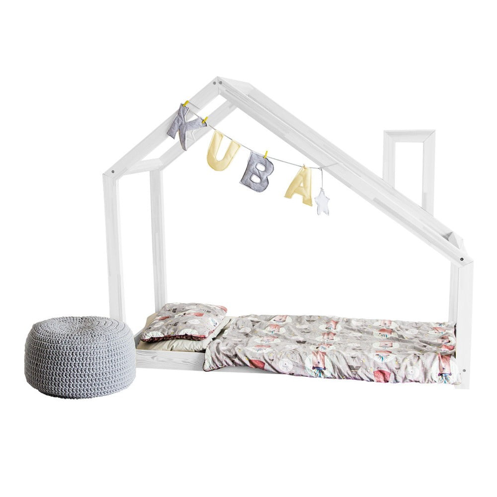 Bílá postel s bočnicemi Benlemi Deny, 80 x 200 cm