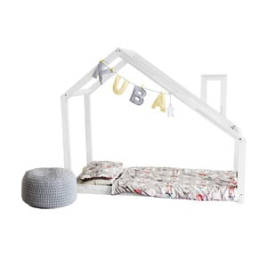 Bílá postel s vyvýšenými nohami a bočnicemi Benlemi Deny, 120x200cm, výška nohou30cm