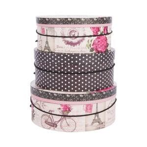 Sada 3 úložných krabic Paris in Pink