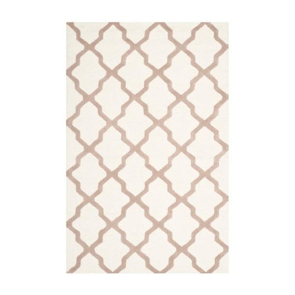 Vlněný koberec Ava 52x243 cm, bílý/béžový