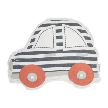 Pernă din amestec de bumbac pentru copii Apolena Pillow Toy Car, 32 x 25 cm, gri – roșu de la Apolena