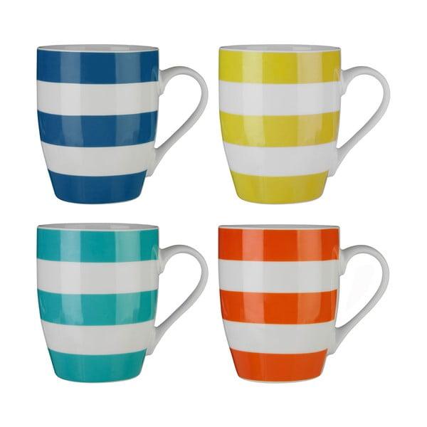 Set 4 căni din porțelan bone china Premier Housewares Stripes Colorful, 342 ml