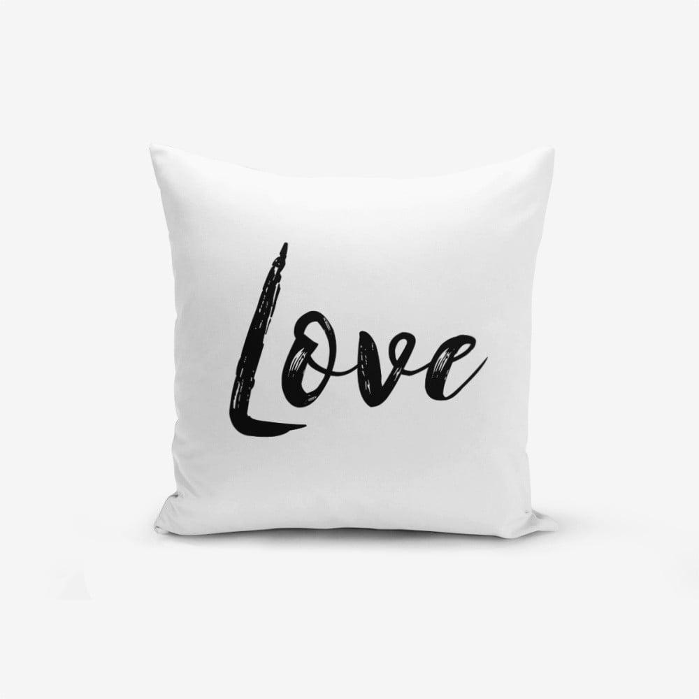 Povlak na polštář s příměsí bavlny Minimalist Cushion Covers Love Writing, 45 x 45 cm