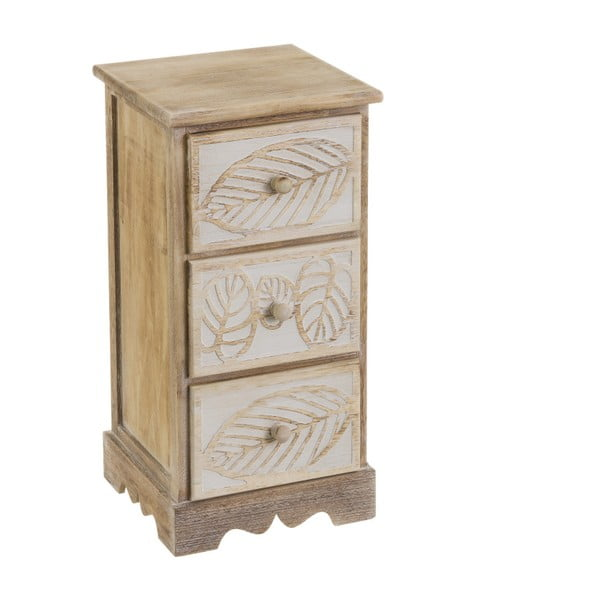 Komoda z 3 szufladami z drewna paulownia Unimasa Leaves