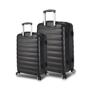 Sada 2 černých cestovních kufrů na kolečkách s USB porty My Valice RESSNO Large & Medium