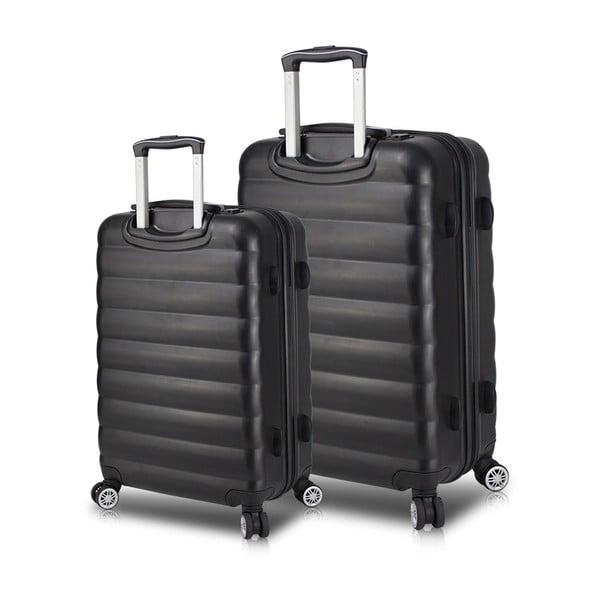RESSNO Large & Medium 2 fekete görgős bőrönd USB csatlakozóval - My Valice