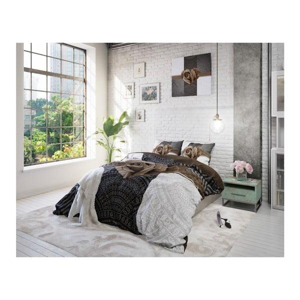 Lenjerie de pat din bumbac Dreamhouse Garden Rose, 240 x 200 cm, gri - maro
