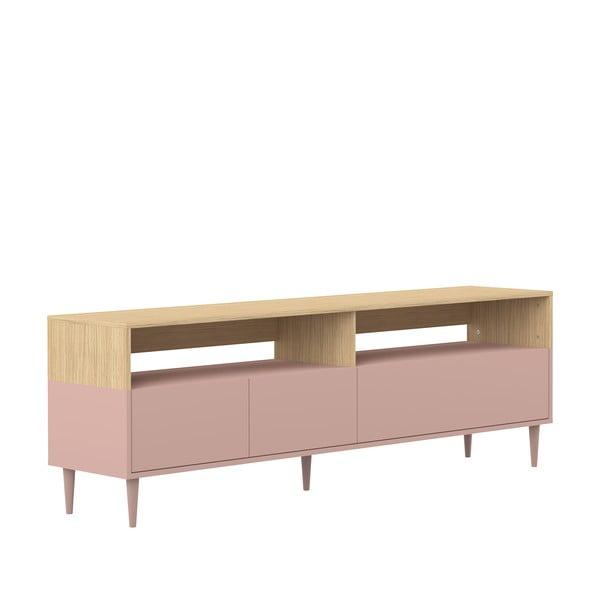 Růžový TV stolek v dekoru dubového dřeva Symbiosis Horizon