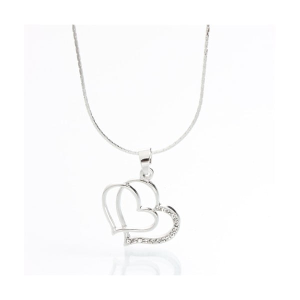 Náhrdelník Laura Bruni se Swarovski Elements Double Heart Crystal
