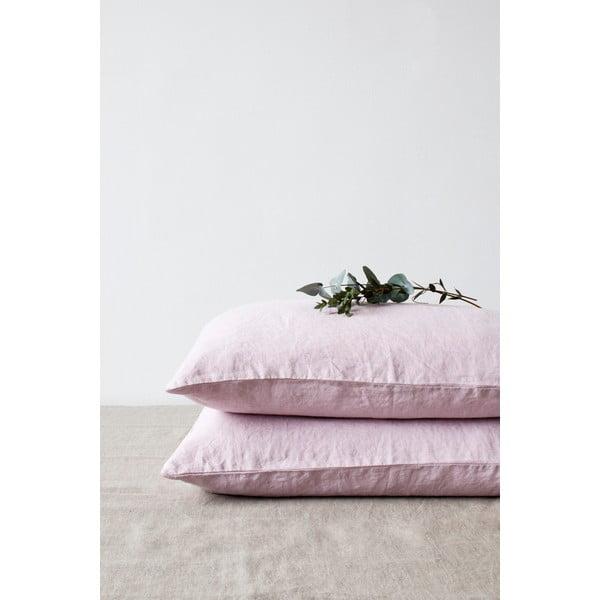 Fioletowa lniana poszewka na poduszkę Linen Tales, 70x90 cm
