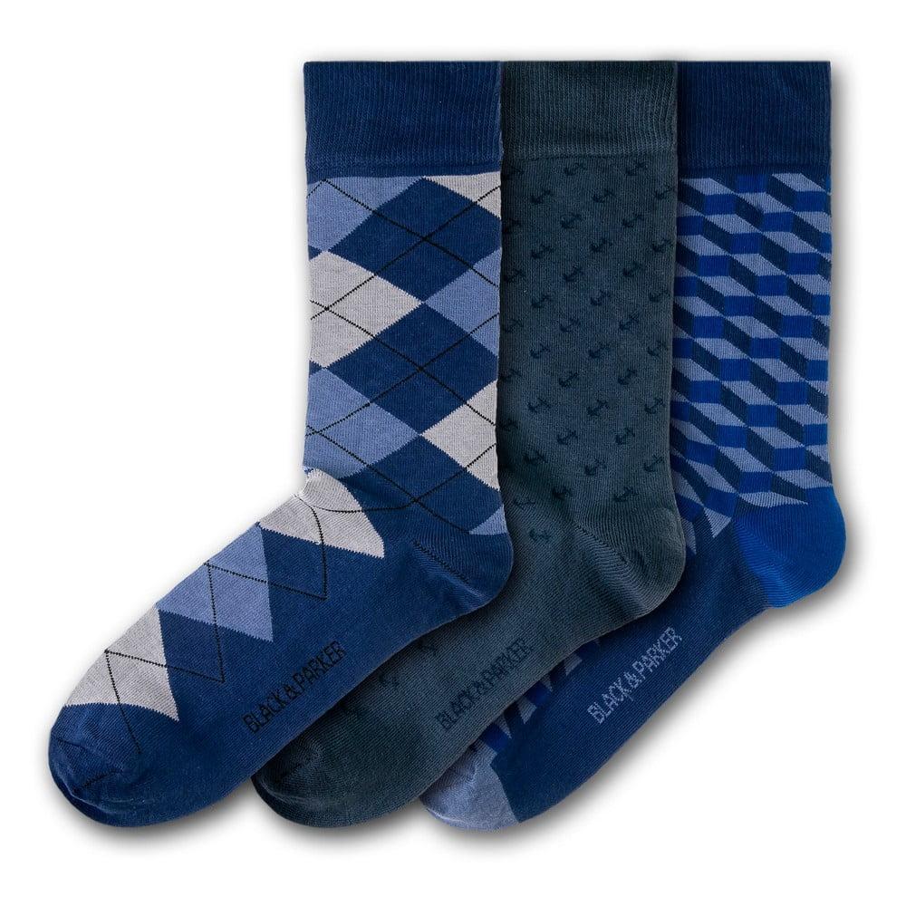 Sada 3 párů unisex ponožek Black&Parker London Chyverton, velikost 37 - 43