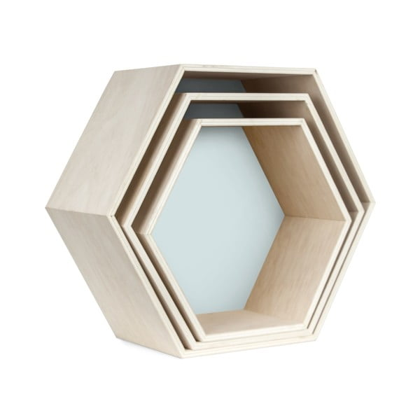 Set 3 rafturi de perete Really Nice Things Hexagon, albastru - maro