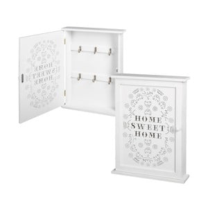 Bílá nástěnná skřínka na klíče Unimasa Home Sweet Home, 25 x 33 cm