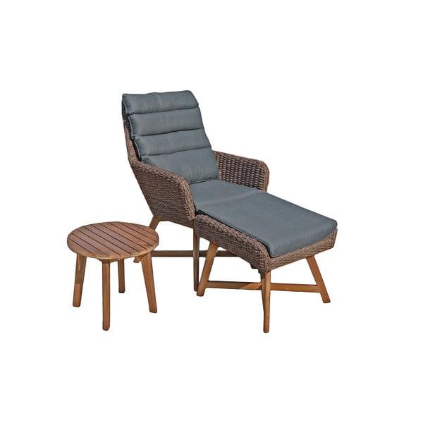 Caliva barna kerti fotel lábtartóval és asztallal - ADDU
