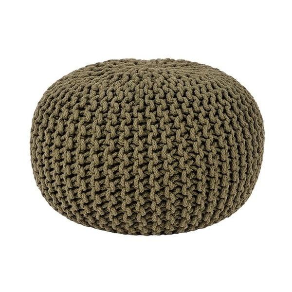 Puf tricotat LABEL51 Knitted, Ø 50 cm, khaki