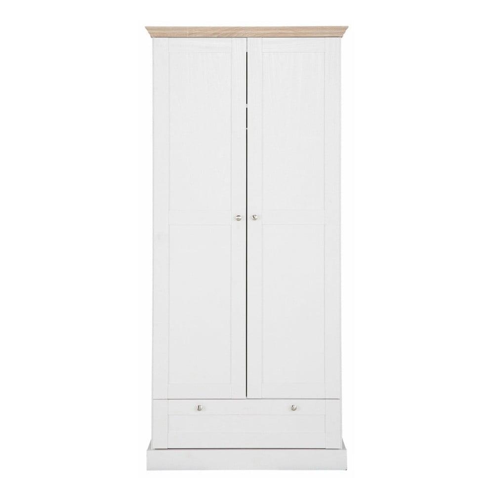 Bílá dvoudveřová šatní skříň s detaily v dubovém dekoru se zásuvkou Støraa Bruce