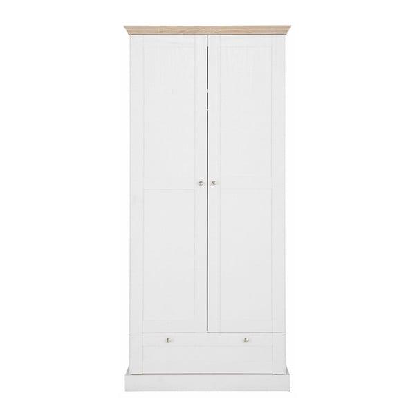 Bruce fehér kétajtós, fiókos ruhásszekrény tölgyfa dekorral - Støraa