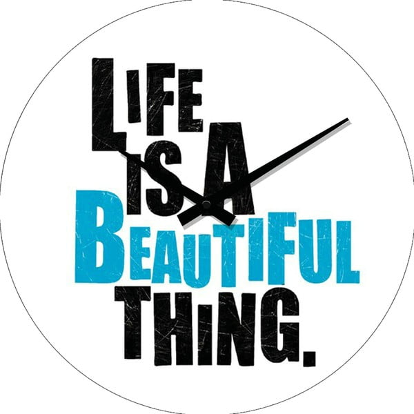 Skleněné hodiny Life Is, 34 cm
