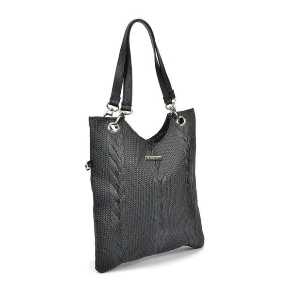 Černá kožená kabelka Mangotti Bags Lidia