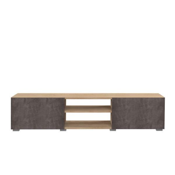 Masă TV cu aspect de lemn de stejar și ușă cu aspect de beton TemaHome Podium