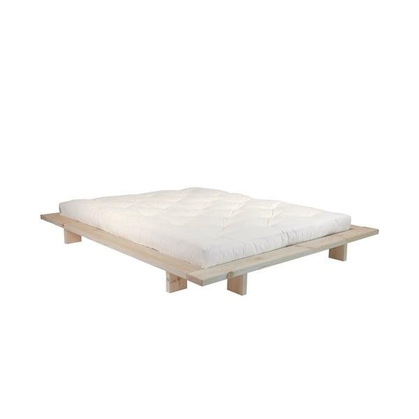 Pat dublu din lemn de pin cu saltea Karup Design Japan Comfort Mat Raw/Natural, 160 x 200 cm