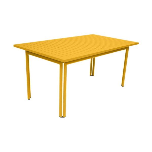 Žltý záhradný kovový jedálenský stôl Fermob Costa, 160×80 cm