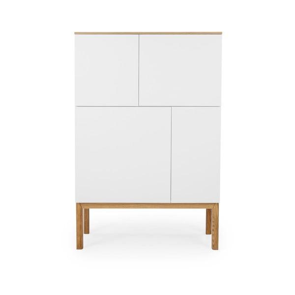 Biała 4-drzwiowa szafka z blatem w dekorze drewna dębowego Tenzo Patch, 92x138 cm