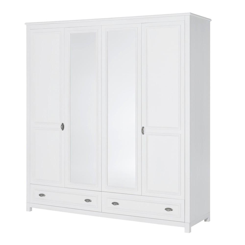Bílá čtyřdveřová šatní skříň Szynaka Meble Madison