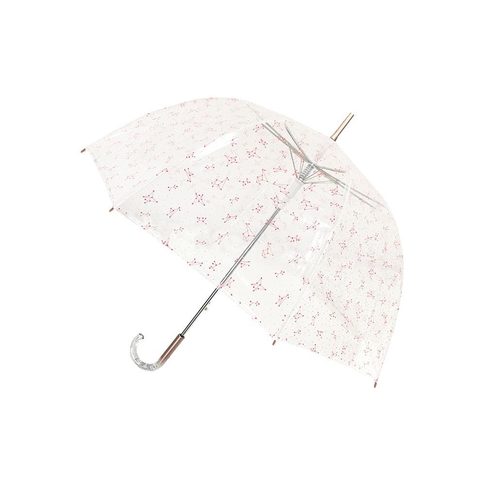 Dámský větruodolný transparentní holový deštník Ambiance Pink Constellation, ⌀85cm