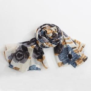 Šátek s motivem květin, šedá