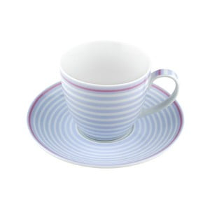 Porcelánový šálek s podšálkem Lines, modrý 4 ks