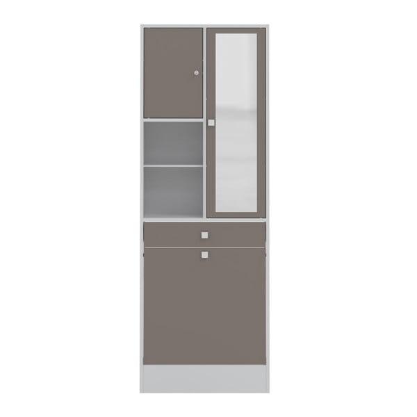 Sivo-hnedá kúpeľňová skrinka TemaHome Combi, šírka 62,6cm